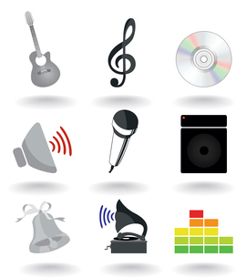 Musical icons2. Set of icons on a musical theme. A vector illustrationのイラスト素材 [FYI03086448]