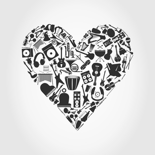 Musical heart3. Heart made of musical instruments. A vector illustrationのイラスト素材 [FYI03086449]