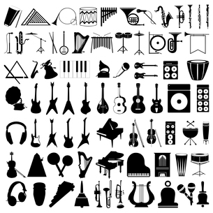 Musical instruments2. Collection of silhouettes of musical instruments. A vector illustrationのイラスト素材 [FYI03086463]