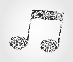Musical note3. The musical note made of musical instruments. A vector illustrationのイラスト素材 [FYI03086467]