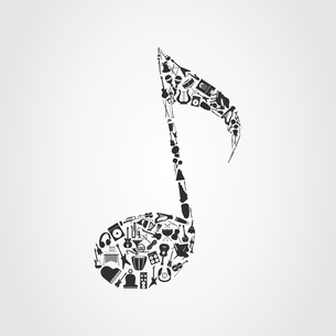 Musical note. Musical instruments are collected in the note. A vector illustrationのイラスト素材 [FYI03086473]