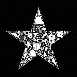 Star from musical instruments. A vector illustrationのイラスト素材 [FYI03086482]