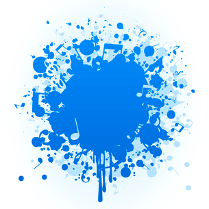 Musical stain. Stain of a blue paint and the note. A vector illustrationのイラスト素材 [FYI03086483]