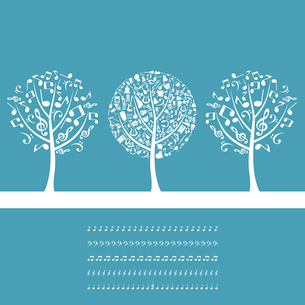 Musical tree3. Three musical trees on a blue background. A vector illustrationのイラスト素材 [FYI03086496]