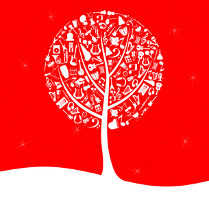 Musical tree2. Musical tree on a red background. A vector illustrationのイラスト素材 [FYI03086498]