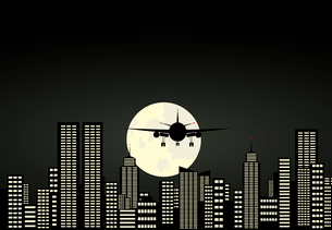 Night city. The plane comes on planting in a night city. A vector illustrationのイラスト素材 [FYI03086532]
