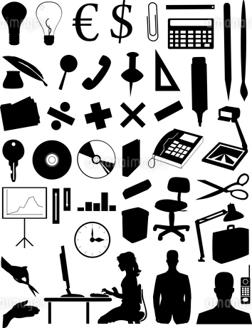 Office subjects. Silhouettes of various office subjects and peopleのイラスト素材 [FYI03086574]