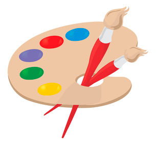 Palette2. Palette of the artist and brush. A vector illustrationのイラスト素材 [FYI03086596]