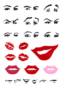Parts of the person. Eyes and lips of the person. A vector illustrationのイラスト素材 [FYI03086604]
