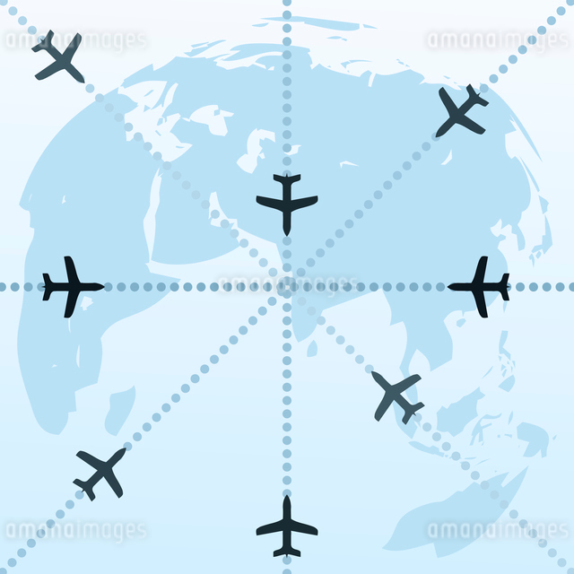 Planes over the world. Routes of planes in the world. A vector illustrationのイラスト素材 [FYI03086664]
