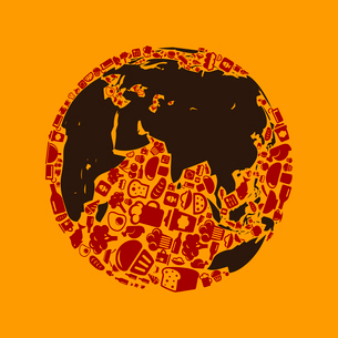 Planet made of food. A vector illustrationのイラスト素材 [FYI03086665]