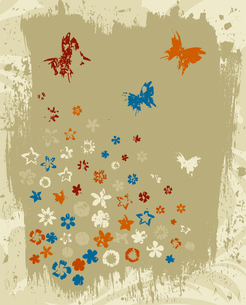 Retro a flower4. Flower grey retro a background. A vector illustrationのイラスト素材 [FYI03086705]