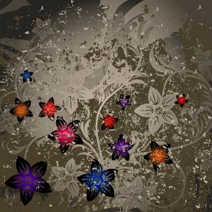 Retro a flower. Flower grey retro a background. A vector illustrationのイラスト素材 [FYI03086708]