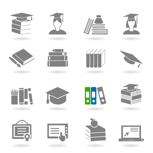 Set of icons on a theme school. A vector illustrationのイラスト素材 [FYI03086741]
