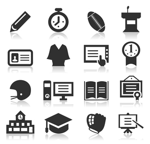 Set of icons on a theme school. A vector illustrationのイラスト素材 [FYI03086743]