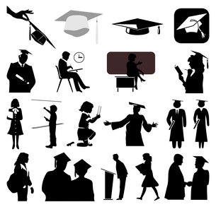 School. Silhouettes on a theme school education. A vector illustrationのイラスト素材 [FYI03086747]