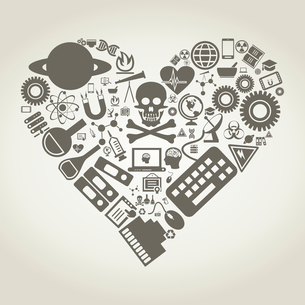 Heart made of objects of science. A vector illustrationのイラスト素材 [FYI03086763]