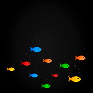 Sea background2. Fishes float on a black background. A vector illustrationのイラスト素材 [FYI03086786]