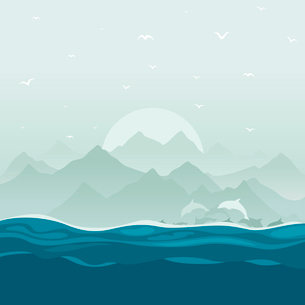 The flight of dolphins floats in the sea. A vector illustrationのイラスト素材 [FYI03086792]