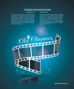 Old Cinema banner with stripe roll. Vector cinema background.のイラスト素材 [FYI03086826]