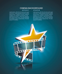 Film strip roll with gold star. Vector cinema background.のイラスト素材 [FYI03086827]