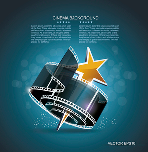 Film strip roll with gold star. Vector cinema background.のイラスト素材 [FYI03086830]
