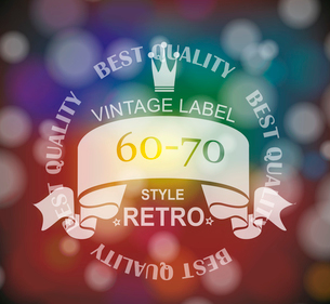 Vector  retro label with  ribbon and crown.のイラスト素材 [FYI03086835]