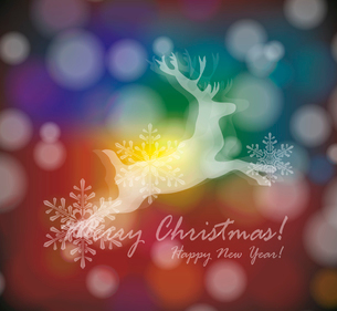 christmas card with stylized  white deer with  snowflakesのイラスト素材 [FYI03086837]