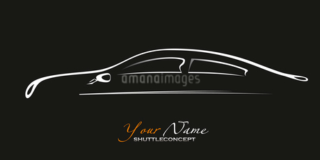 Car. Silhouette of the old car on a black background. Vector art in EPS format.のイラスト素材 [FYI03086865]