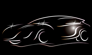 Silhouette of the car on a black background. Vector art.のイラスト素材 [FYI03086900]