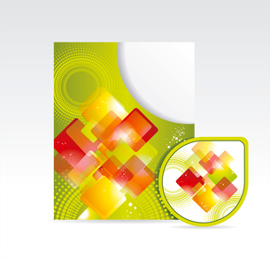Vector bright folder and sticker with abstrackt pattern. folder and stickerのイラスト素材 [FYI03087019]