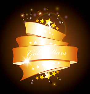 beautiful vector label sign with stars and gold ribbon . stars and gold ribbonのイラスト素材 [FYI03087038]