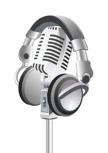"On The Air!! Professional Retro"" Microphone & DJ Headphones""のイラスト素材 [FYI03087048]"