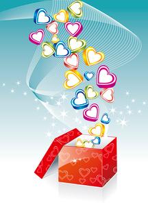 Box With Hearts On Sunburst Background, Vector Illustrationのイラスト素材 [FYI03087054]