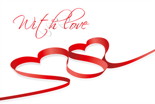 red heart ribbon bow isolated on white background . red heart ribbonのイラスト素材 [FYI03087058]