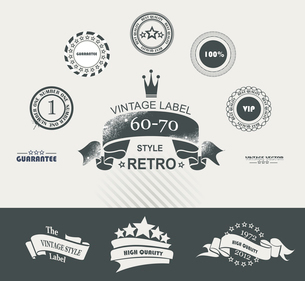 Vintage Styled Premium Quality Labels and Ribbons collection with black grungy design. . Set of vintのイラスト素材 [FYI03087079]