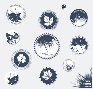 Eco labels with retro vintage design. Vector . Eco labels collectionのイラスト素材 [FYI03087080]