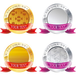 Vector Award Medals Set isolated on whiteのイラスト素材 [FYI03087106]