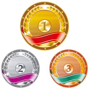 Vector Award Medals Set isolated on whiteのイラスト素材 [FYI03087107]