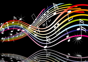 Music notes on staves. Vector music background.. Music themeのイラスト素材 [FYI03087160]