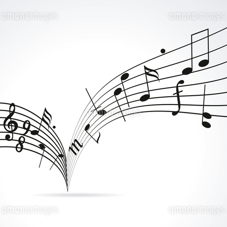Music notes on staves. Vector music background.. Music notes on staveのイラスト素材 [FYI03087162]