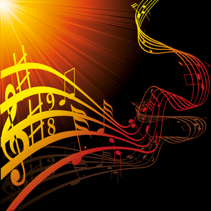 Music notes on staves. Vector music background.. Music notes on stavesのイラスト素材 [FYI03087166]