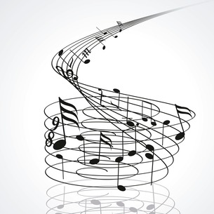 Music notes on staves. Vector music background.. Music notes on stavesのイラスト素材 [FYI03087167]