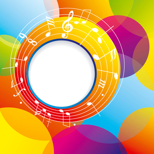 Music background with notes and color circles.. Music backgroundのイラスト素材 [FYI03087168]