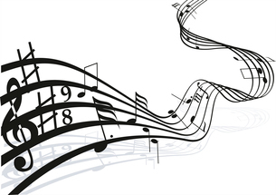 Music notes on staves. Vector music background.のイラスト素材 [FYI03087170]