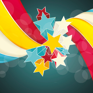 Ribbons and stars isolated on white background. Grunge carnival A retro circus background for a postのイラスト素材 [FYI03087195]