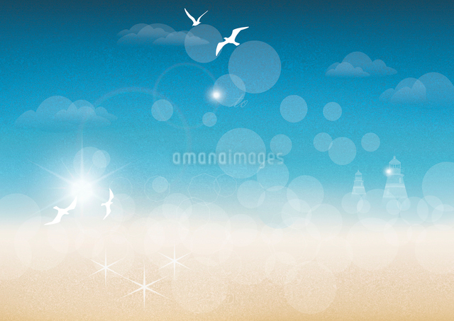 Vector background of a watercolor seascapeのイラスト素材 [FYI03087209]