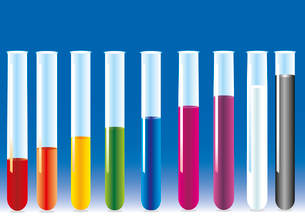 vector test tubes with different colors liquid.. vector test tubesのイラスト素材 [FYI03087224]