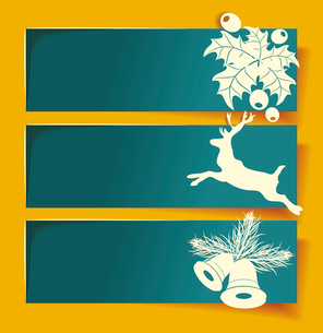 Beautiful Christmas banners with reindeer, mistletoe, holly and bells.のイラスト素材 [FYI03087275]