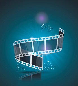 Old Cinema banner with stripe roll. Vector cinema background.のイラスト素材 [FYI03087279]